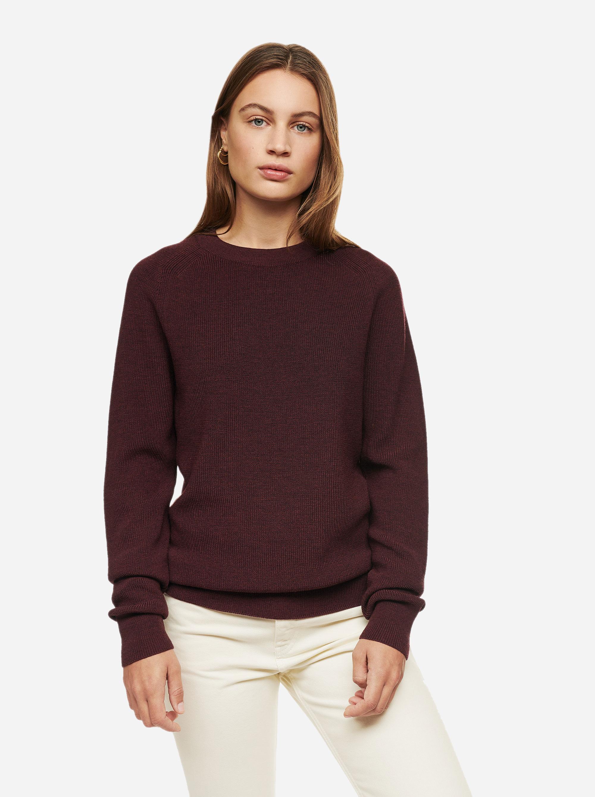 Teym - Crewneck - The Merino Sweater - Women - Burgundy - 1
