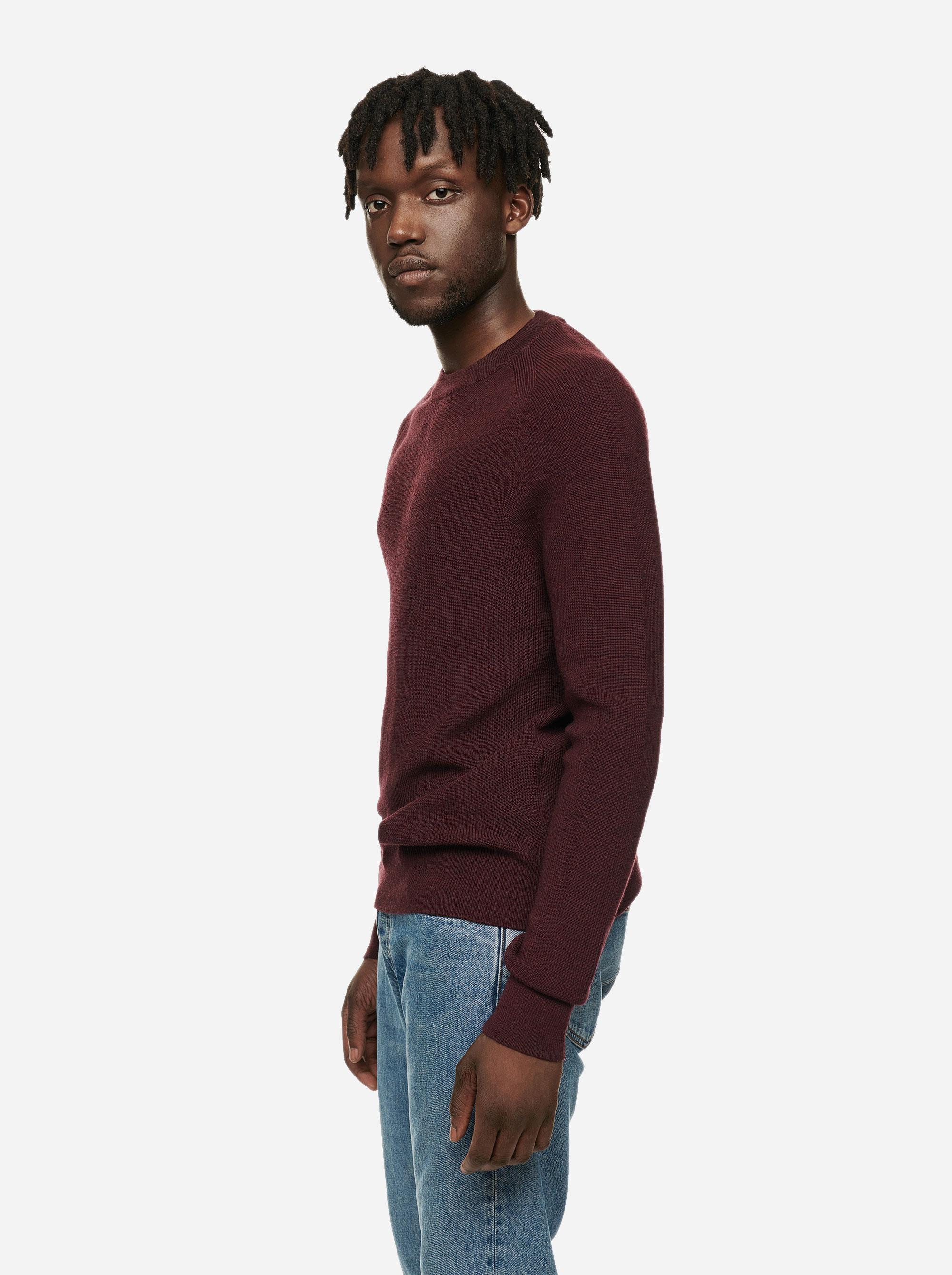 Teym - The Merino Sweater - Men - Burgundy - 2