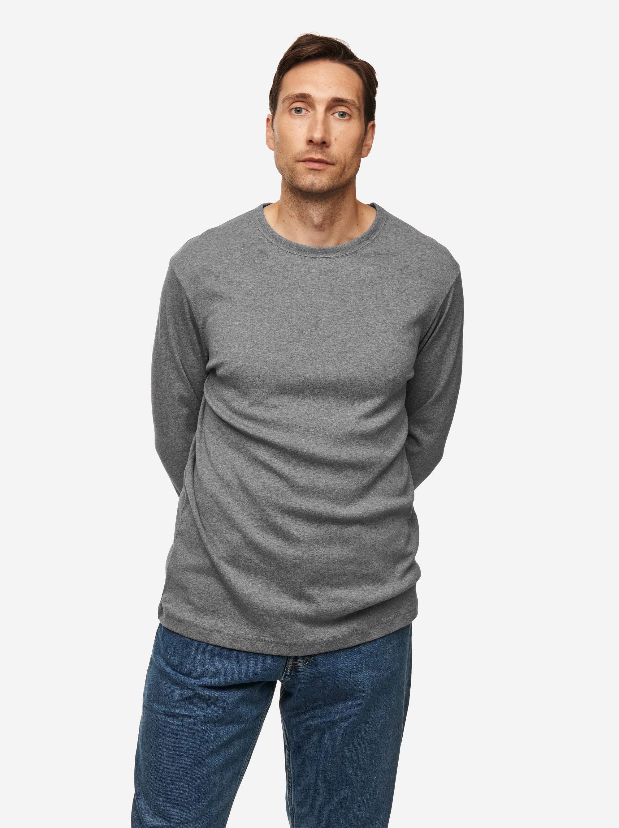 Teym - The-T-Shirt - Longsleeve - Men - Melange Grey - 2B