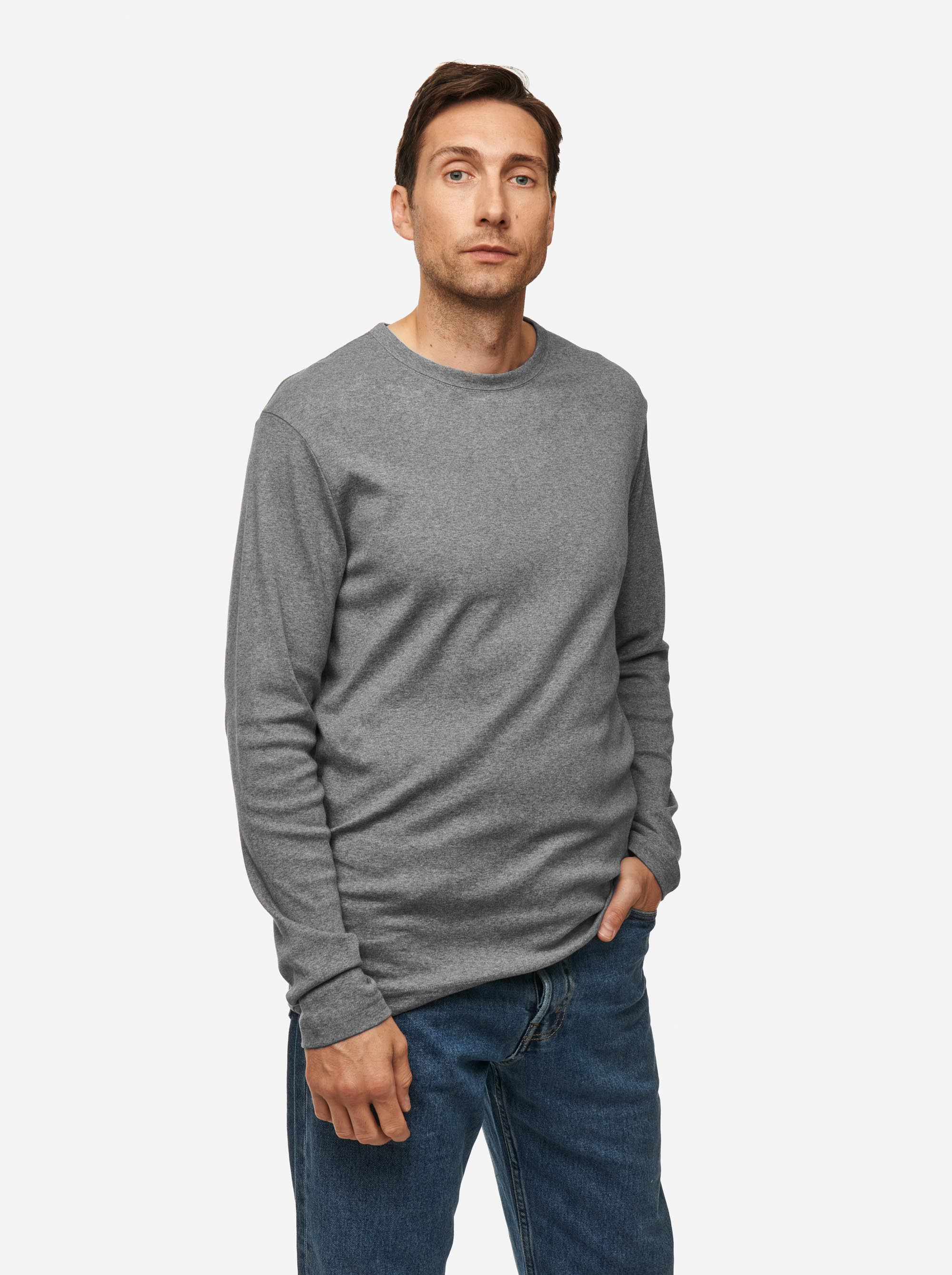 Teym - The-T-Shirt - Longsleeve - Men - Melange Grey - 3B