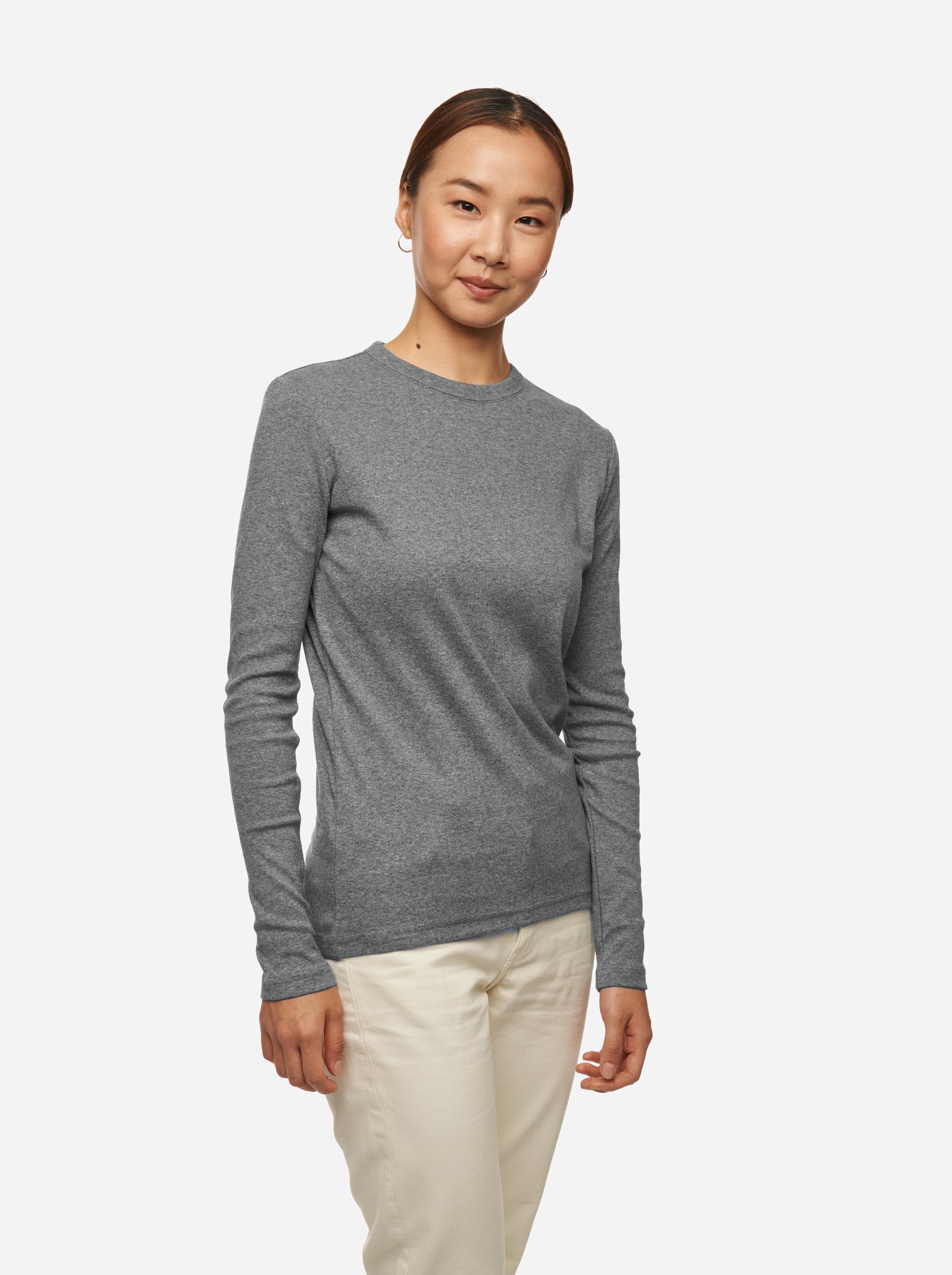 Teym - The-T-Shirt - Longsleeve - Women - Melange Grey - 2B