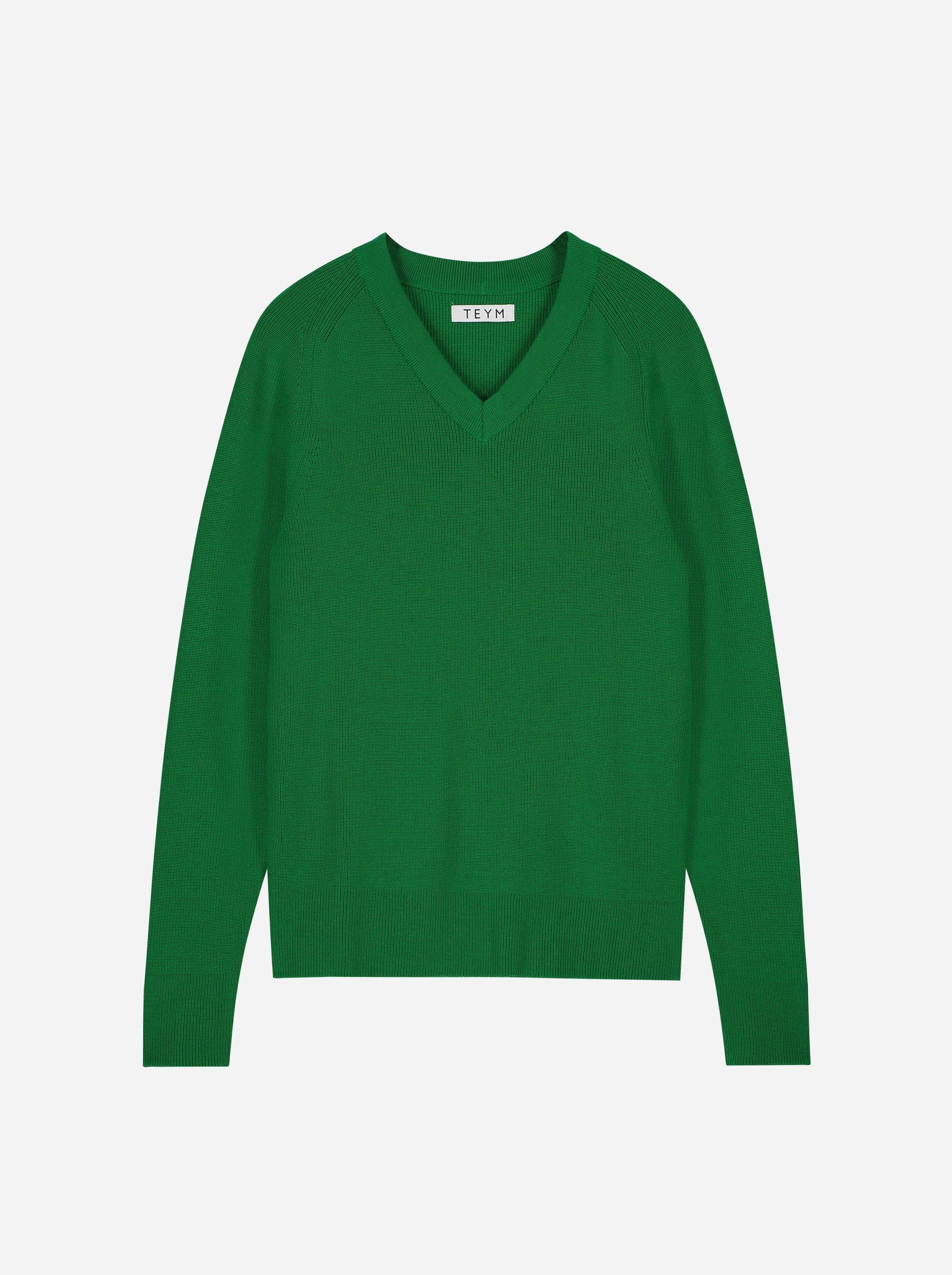 Teym - V-Neck - The Merino Sweater - Men - Bright Green - 4