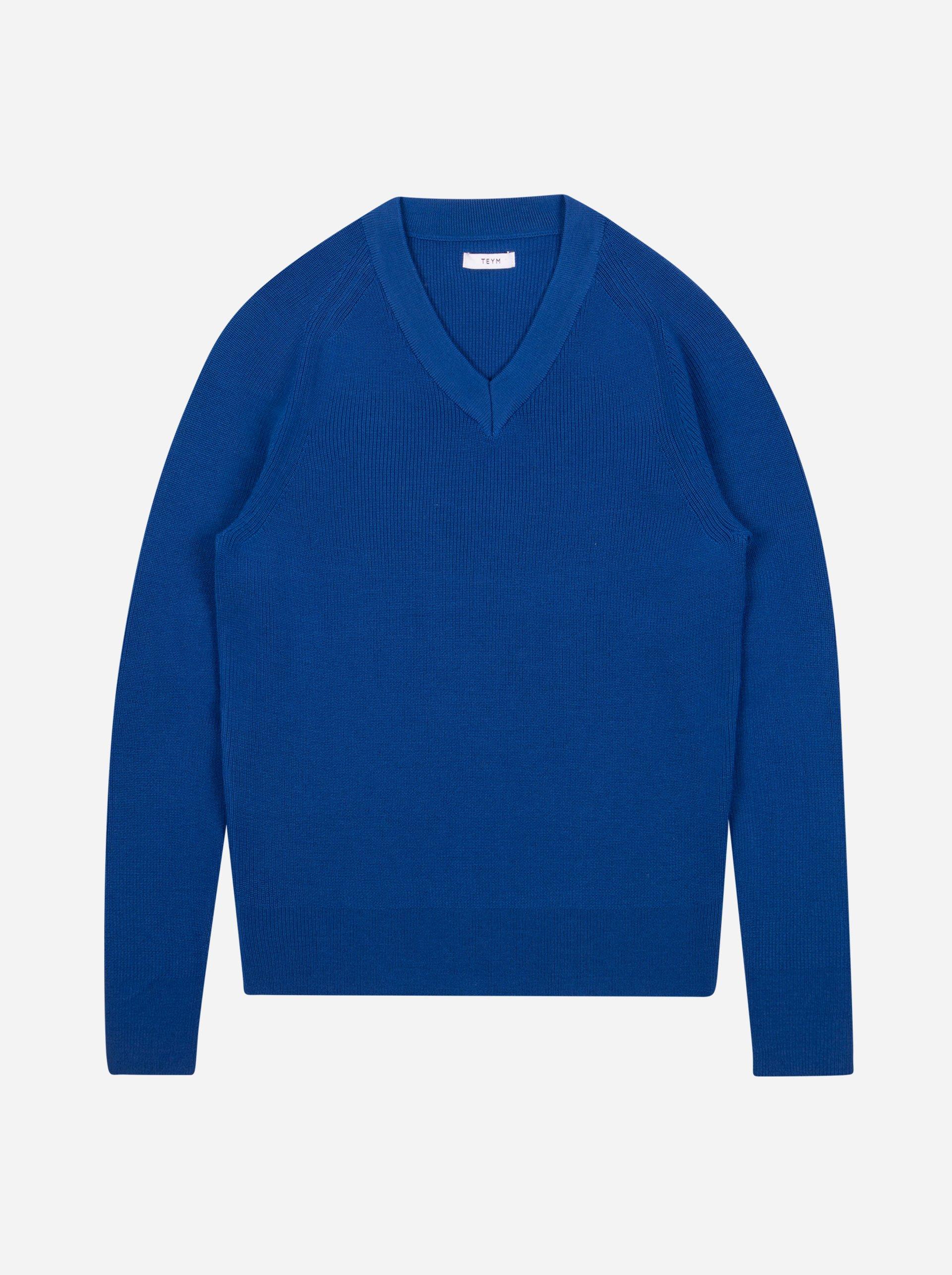 Teym - V-Neck - The Merino Sweater - Men - Cobalt blue - 4