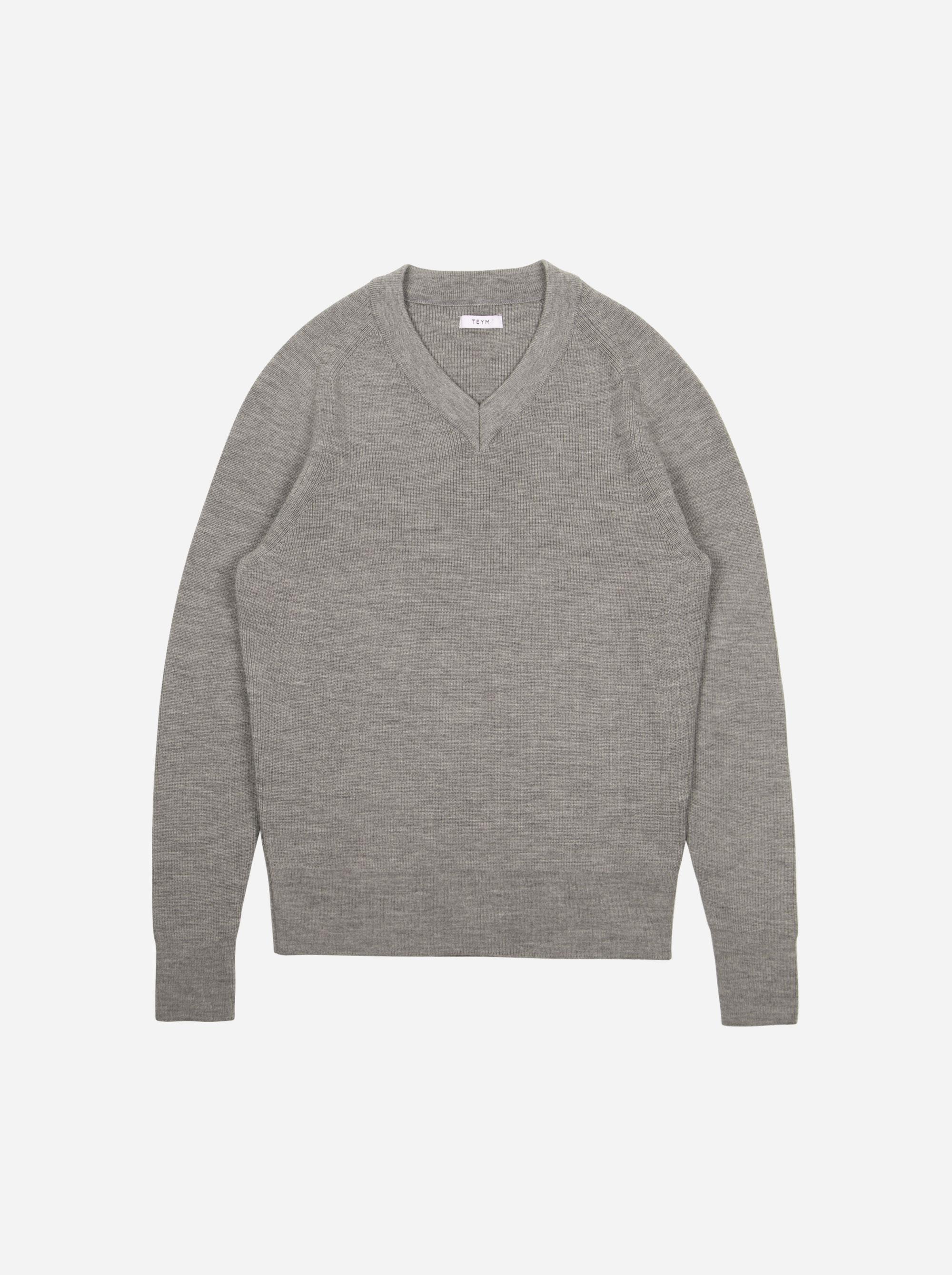 Teym - V-Neck - The Merino Sweater - Men - Grey - 6