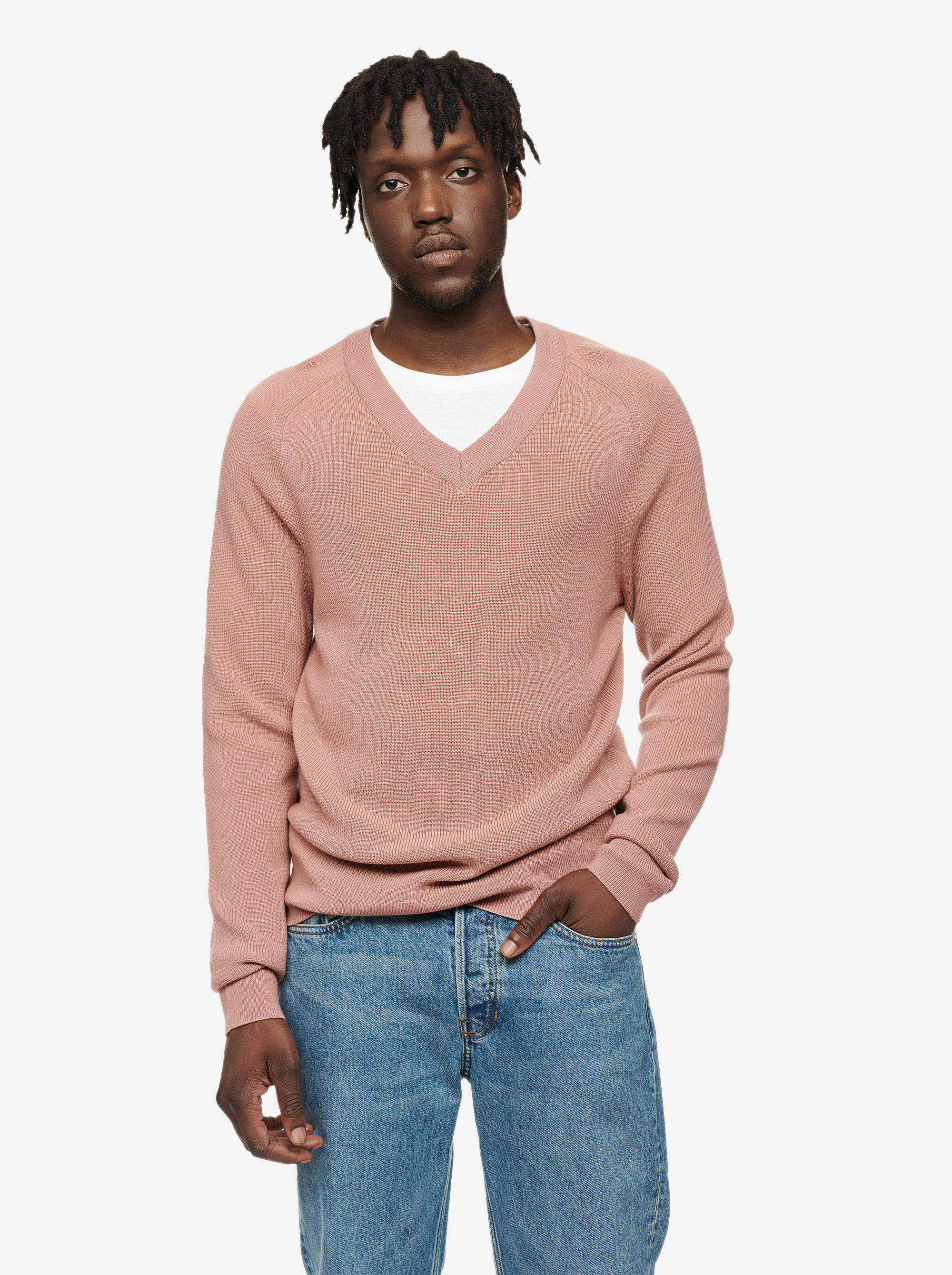 Teym - V-Neck - The Merino Sweater - Men - Pink - 4