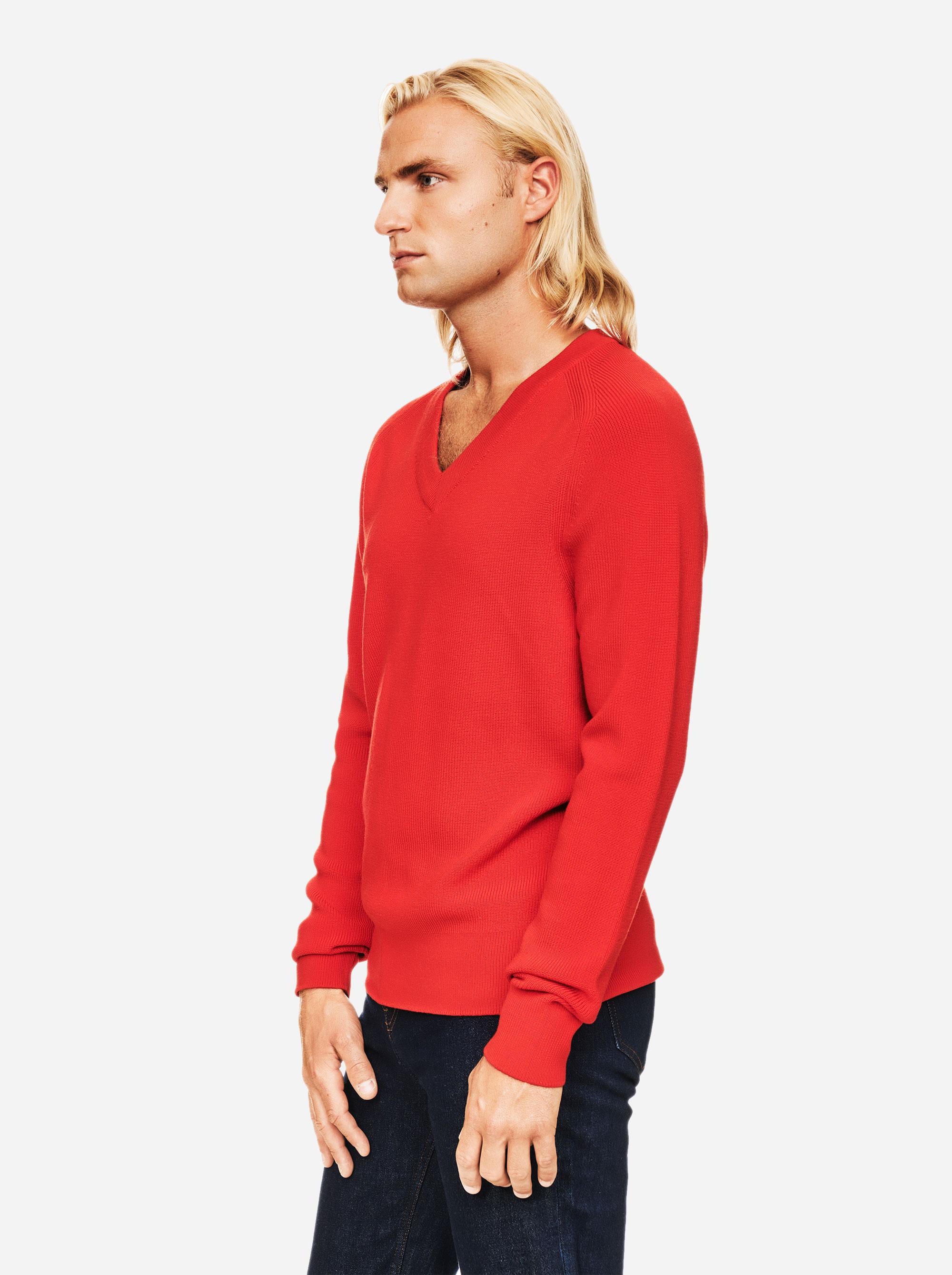 Teym - V-Neck - The Merino Sweater - Men - Red - 1