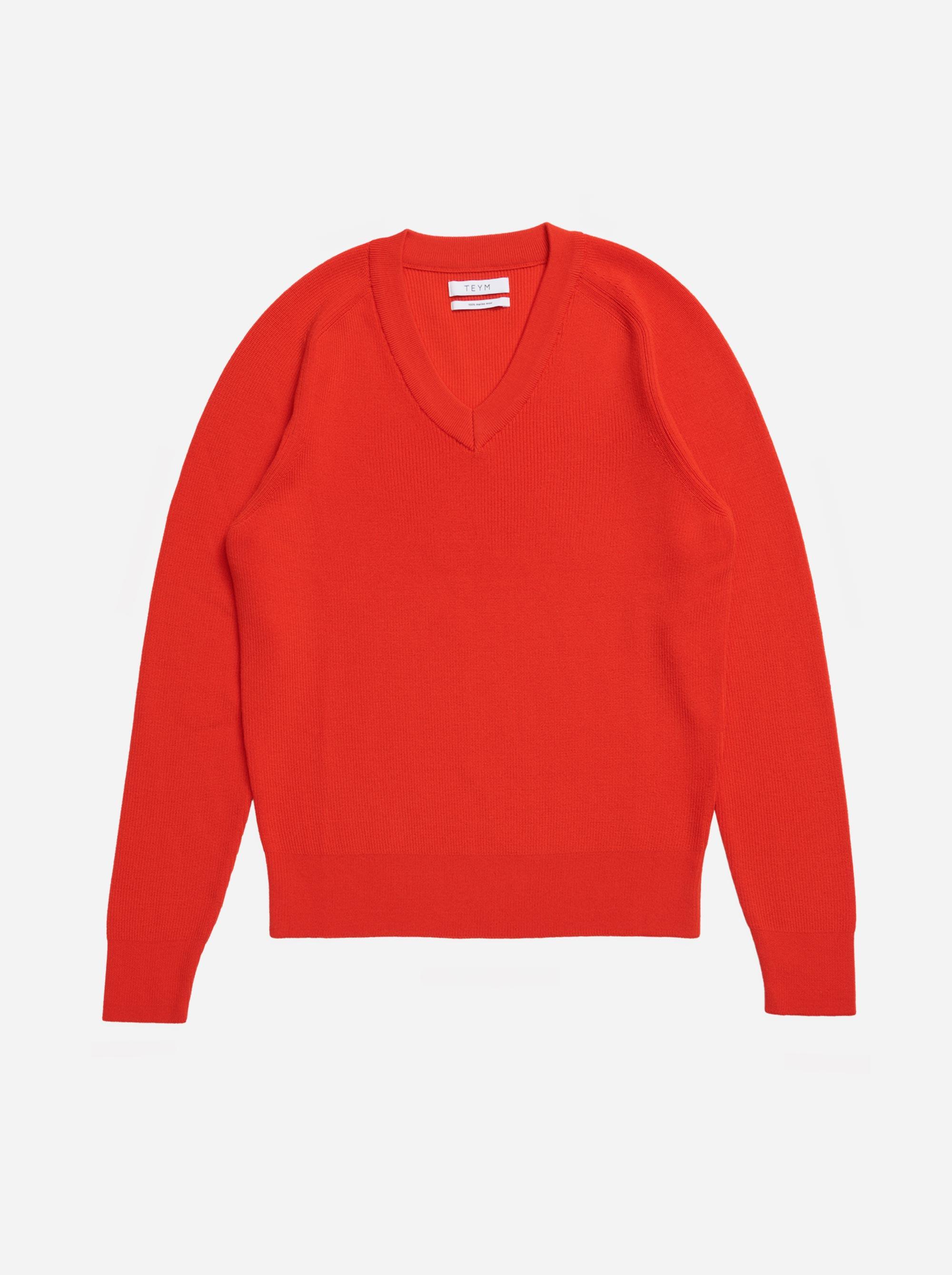 Teym - V-Neck - The Merino Sweater - Men - Red - 5