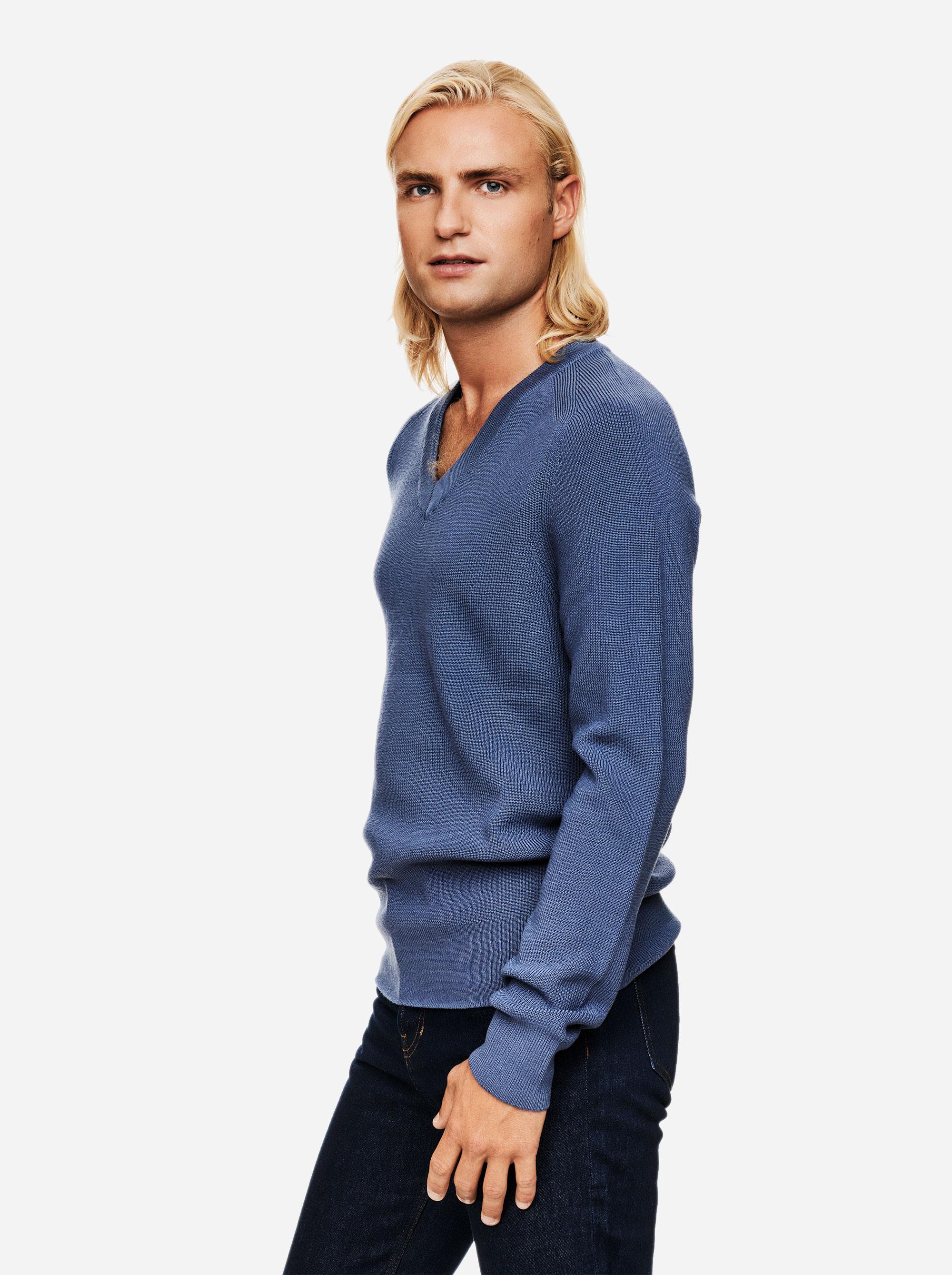 Teym - V-Neck - The Merino Sweater - Men - Sky blue - 1