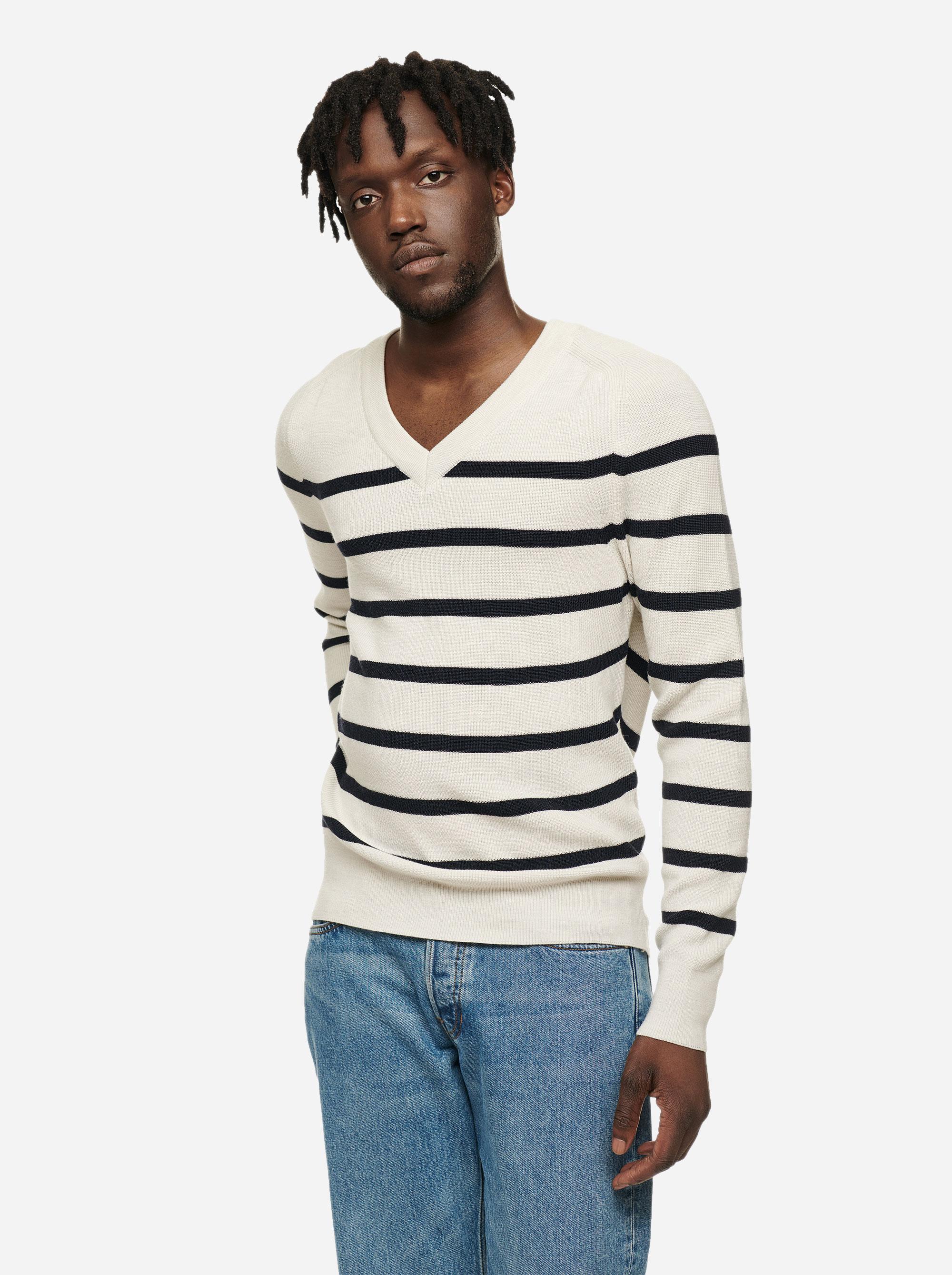 Teym - V-Neck - The Merino Sweater - Men - Striped - 1