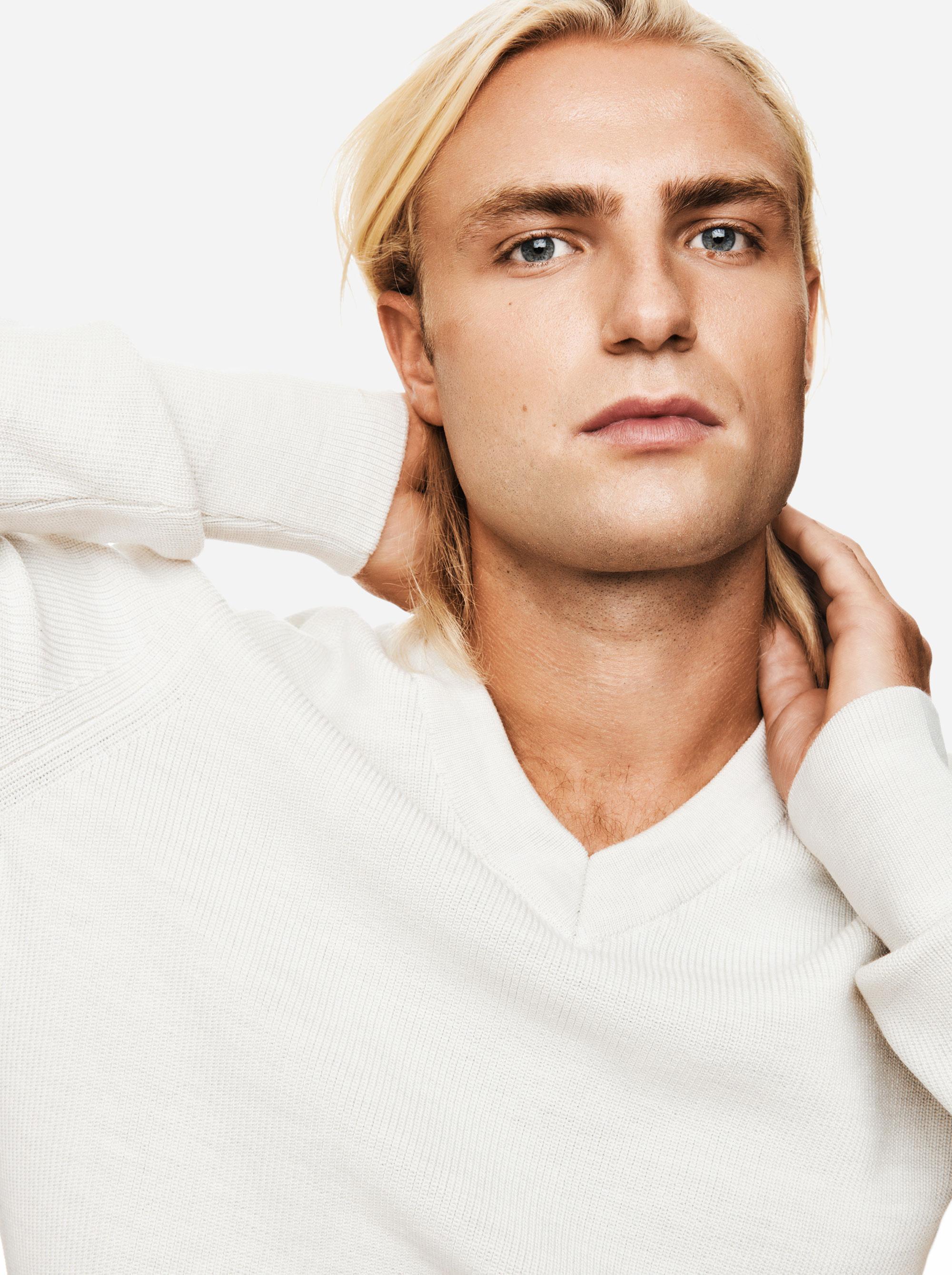 Teym - V-Neck - The Merino Sweater - Men - White - 2