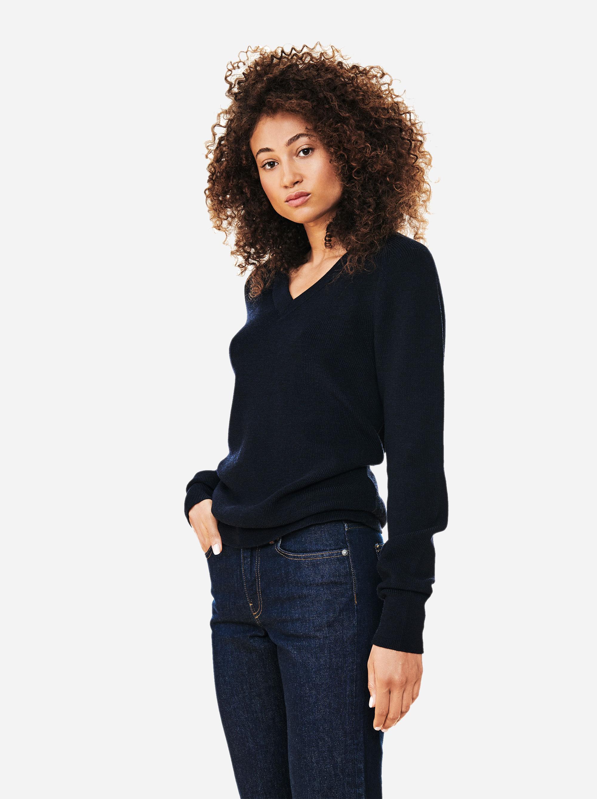 Teym - V-Neck - The Merino Sweater - Women - Blue - 1