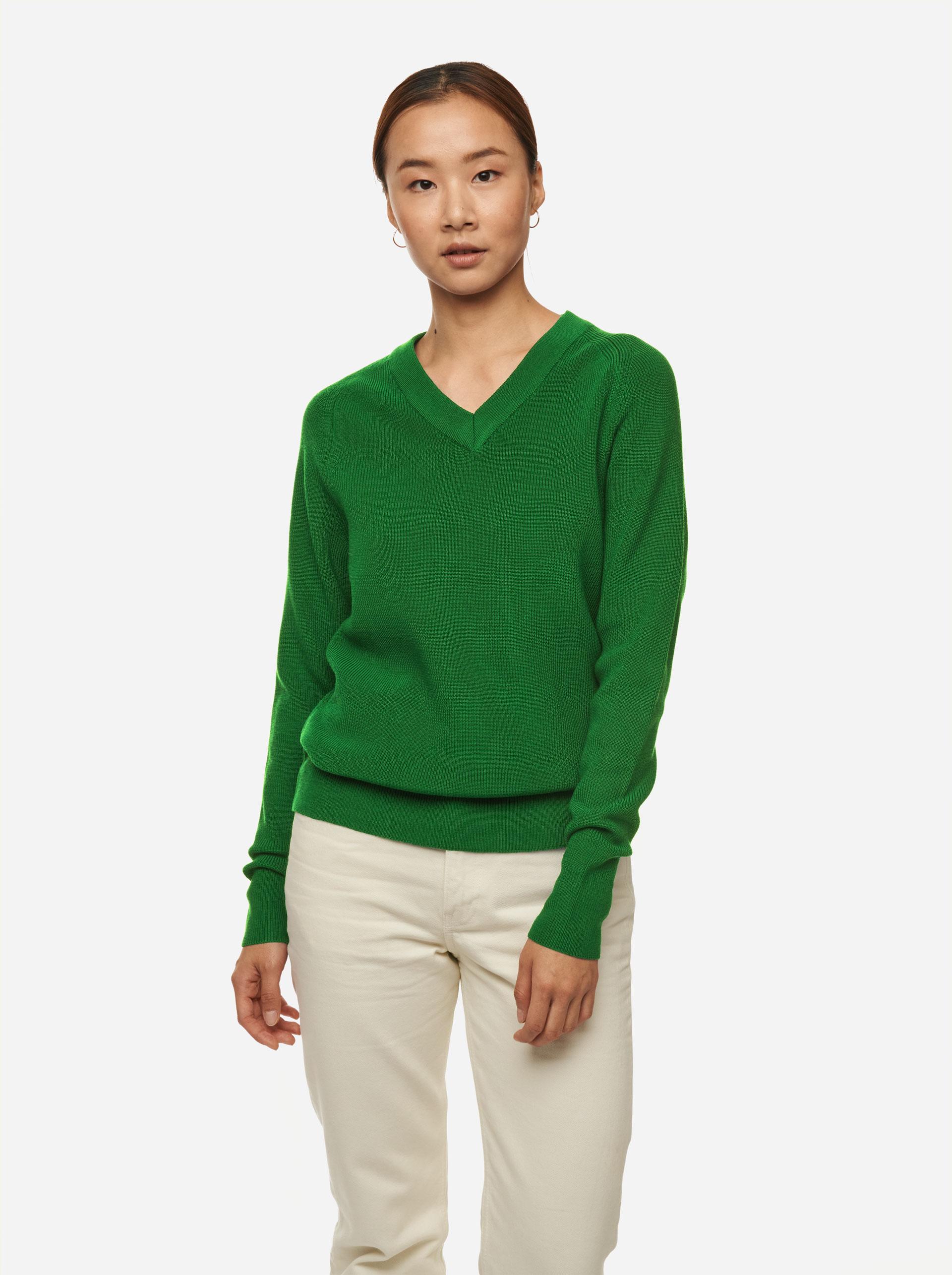 Teym - V-Neck - The Merino Sweater - Women - Bright Green - 1