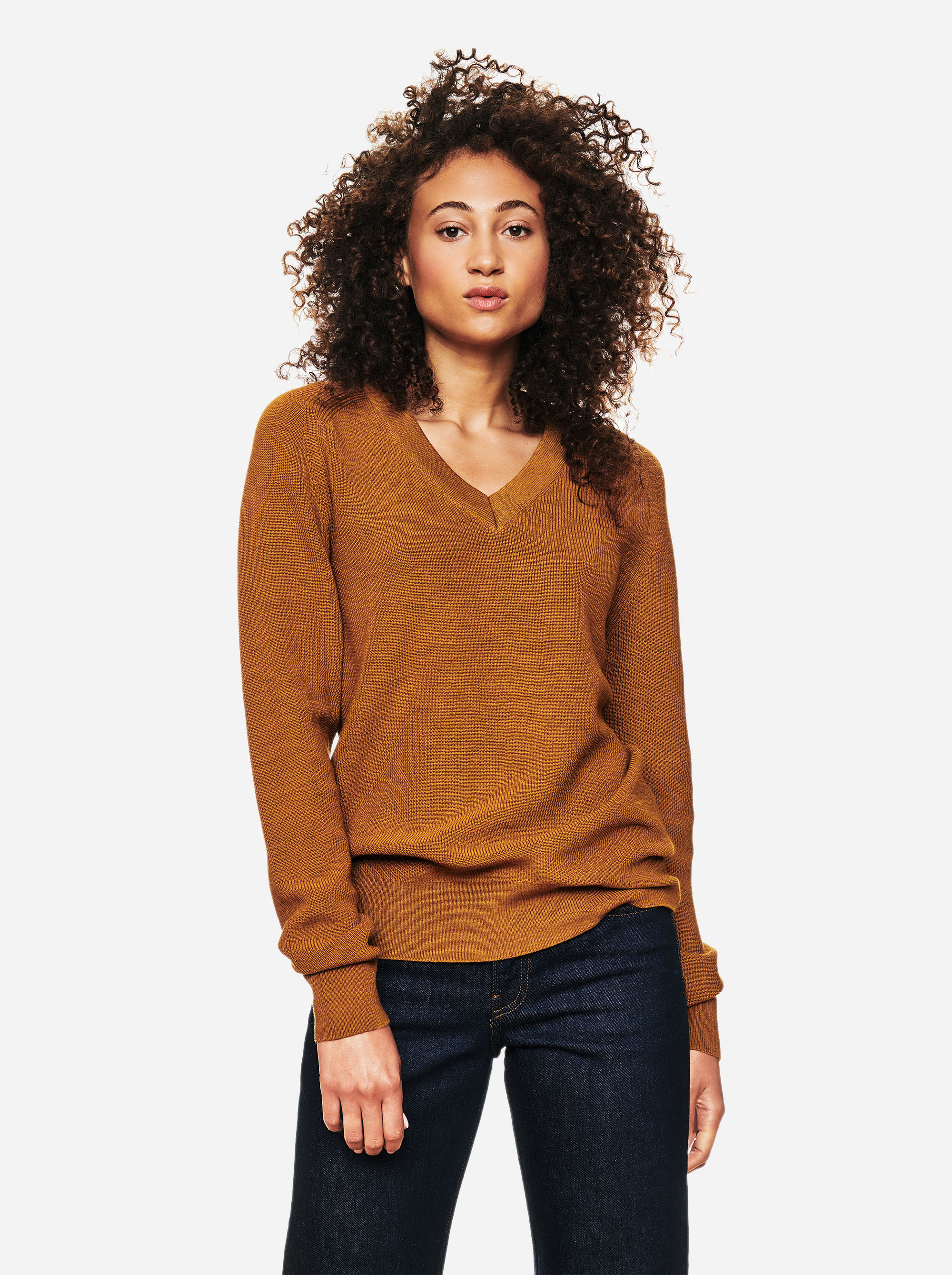 Teym - V-Neck - The Merino Sweater - Women - Mustard - 3
