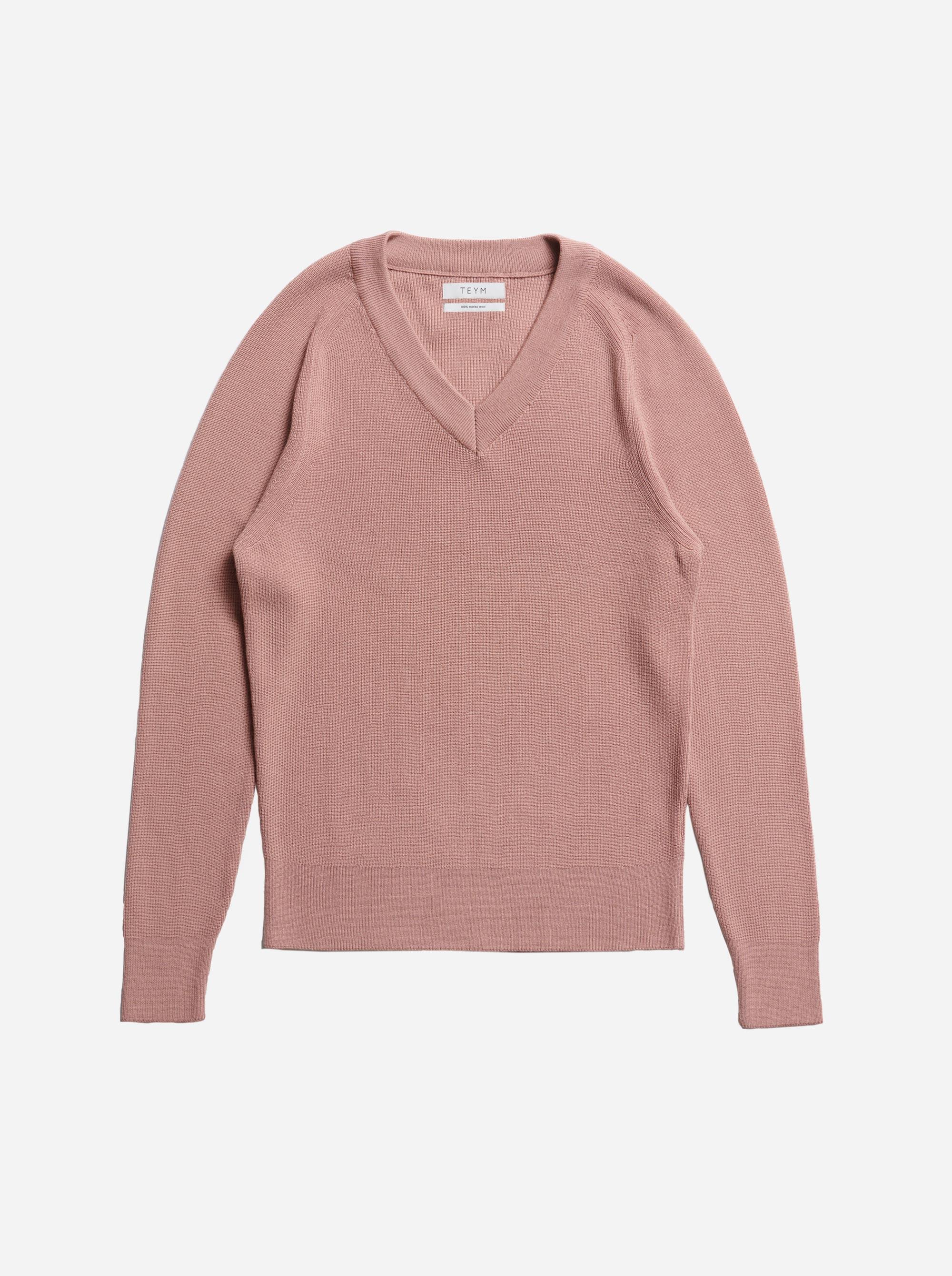 Teym - V-Neck - The Merino Sweater - Women - Pink - 4
