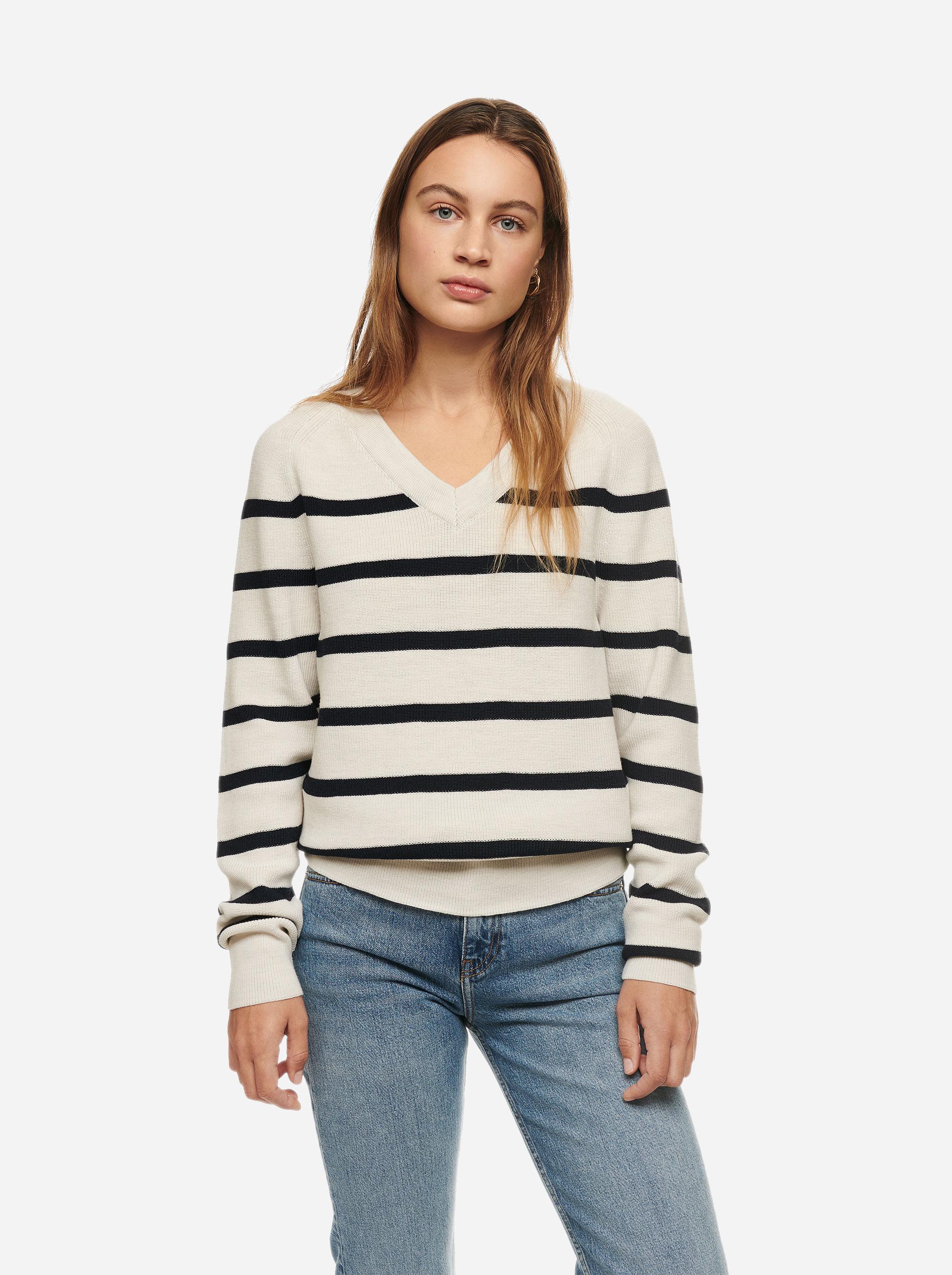 Teym - V-Neck - The Merino Sweater - Women - Striped - 1