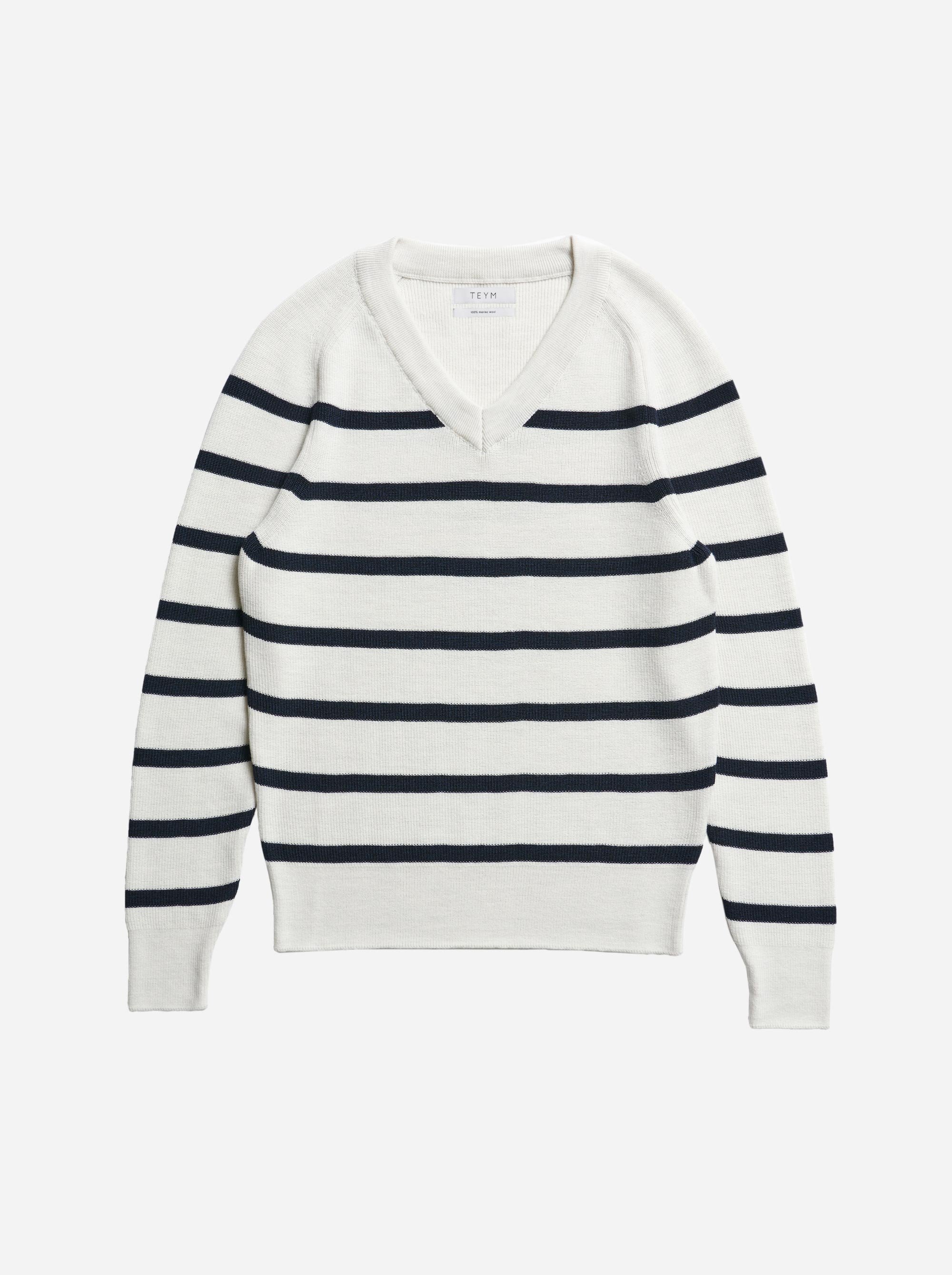 Teym - V-Neck - The Merino Sweater - Women - Striped - 4