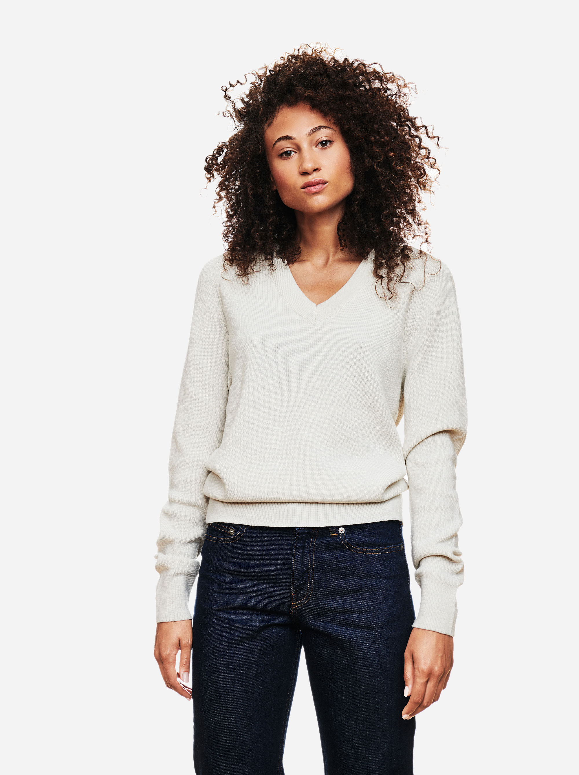 Teym - V-Neck - The Merino Sweater - Women - White - 3