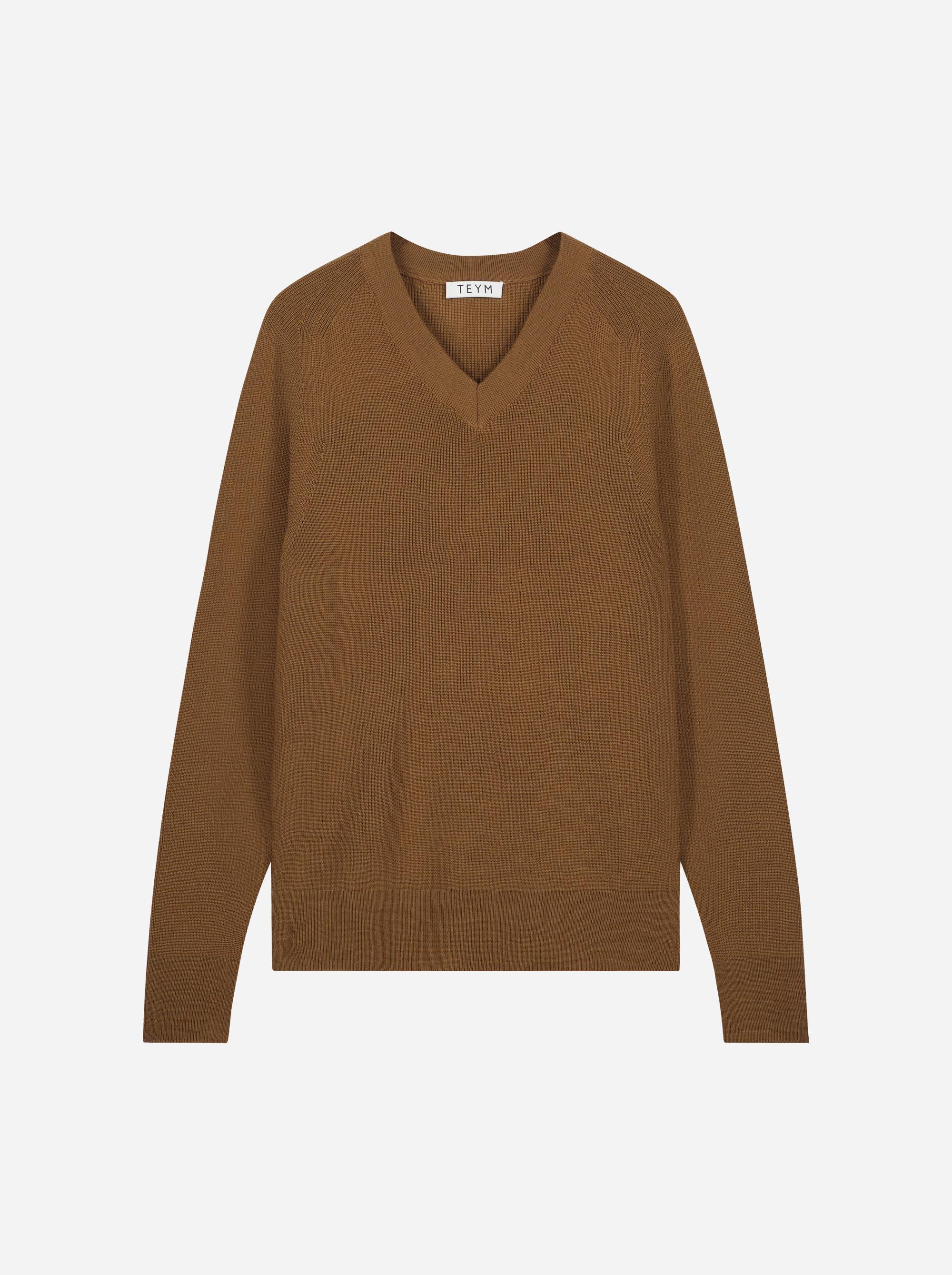 Teym_Merino-Sweater-V-Neck_Brown_front_1
