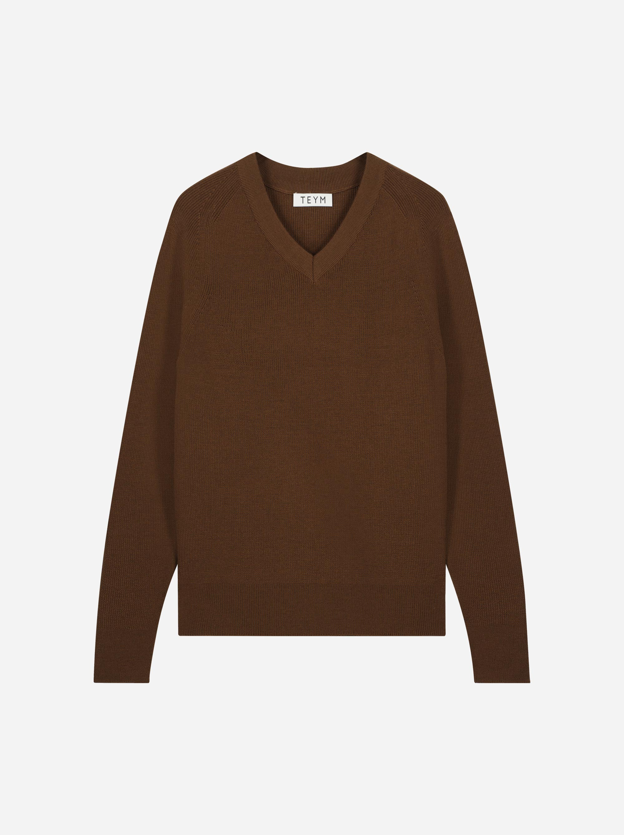 Teym_Merino-Sweater-V-Neck_Dark_Brown_front_1