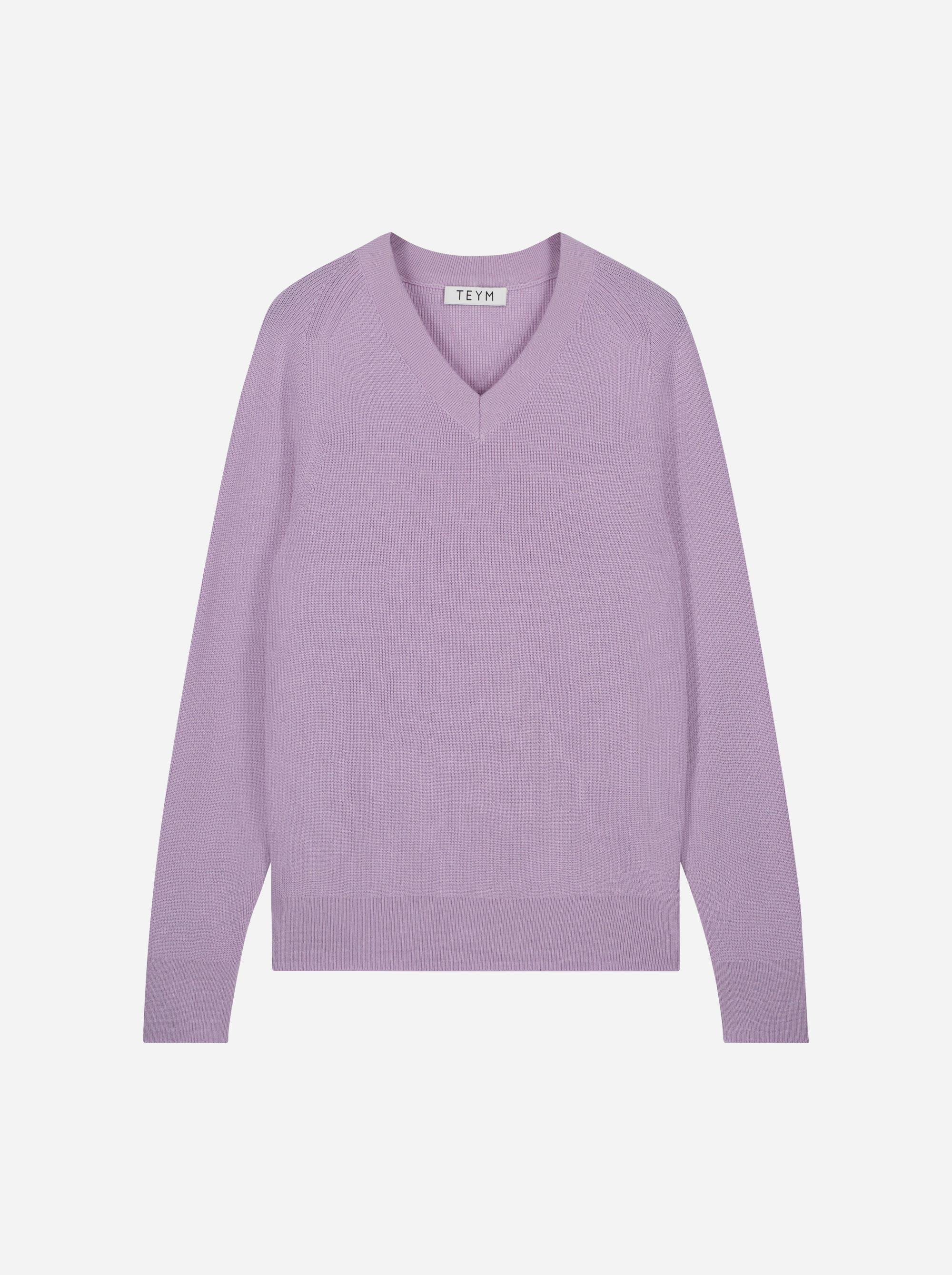 Teym_Merino-Sweater-V-Neck_Lila_front_1