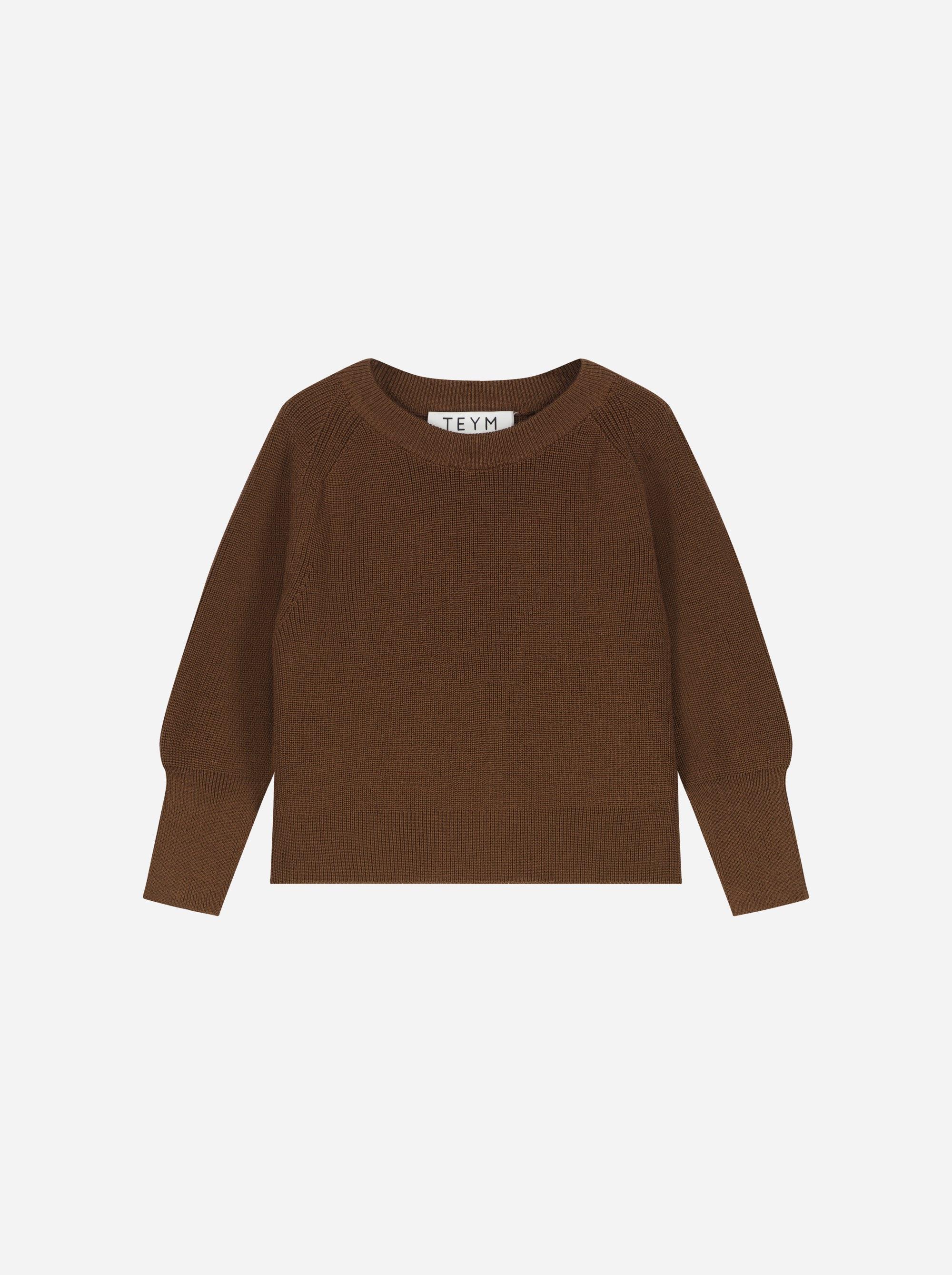 Teym_Merino Sweater_Brown_Kids_front_1