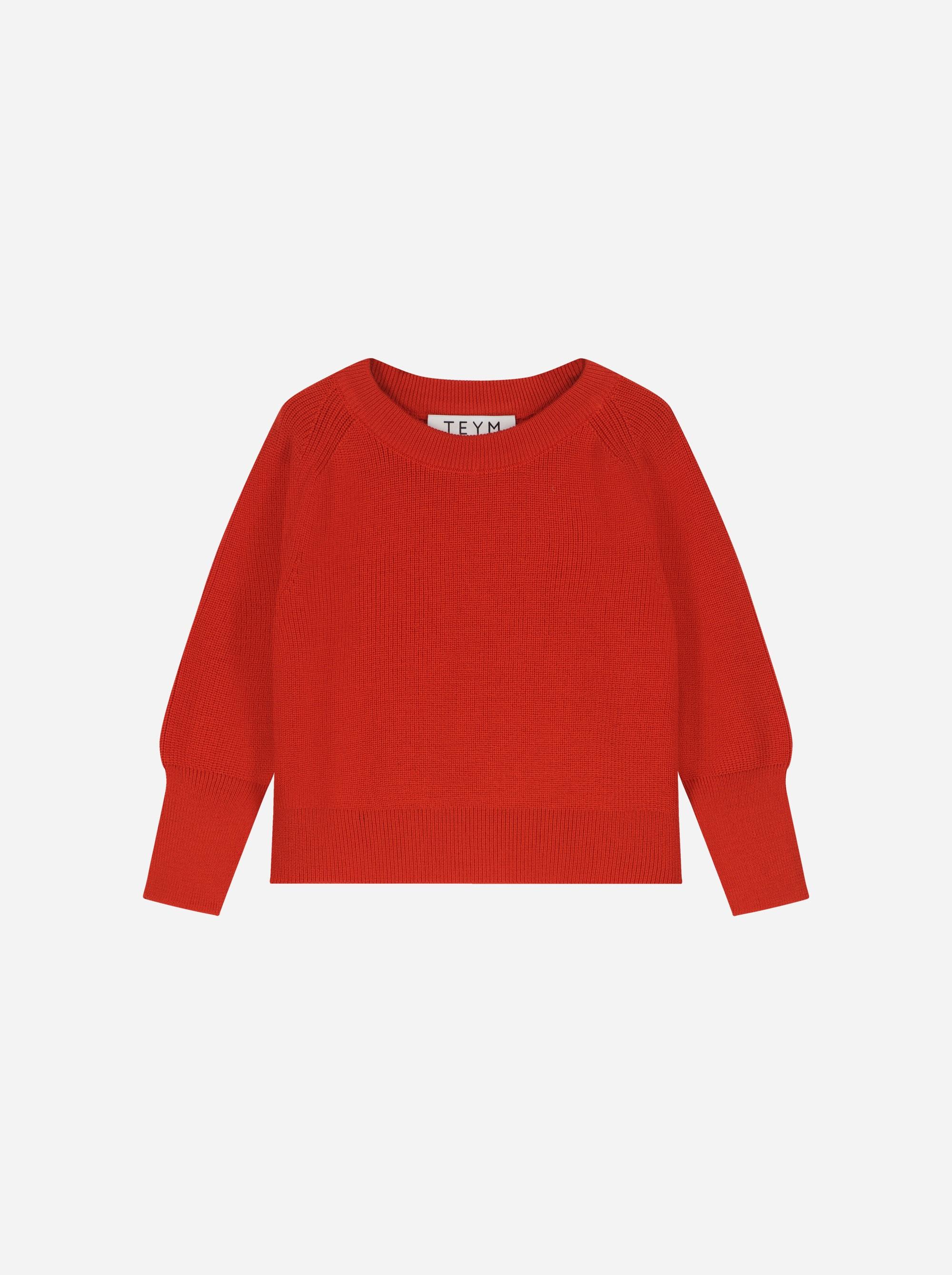 Teym_Merino Sweater_Red_Kids_front_1